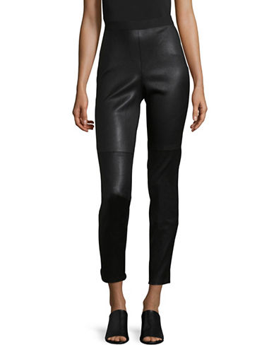 Eileen Fisher Leather Block Tencel Leggings-BLACK-X-Large