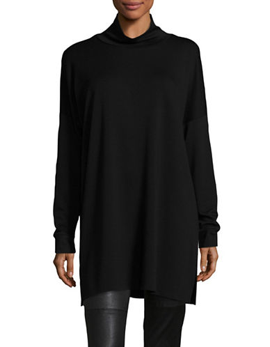 Eileen Fisher Tencel Stretch Jersey Tunic-BLACK-Medium