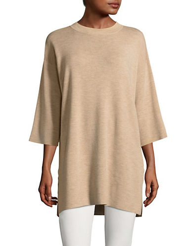 Eileen Fisher Mock Neck Merino Wool Tunic-MAPLE OAT-Medium/Large