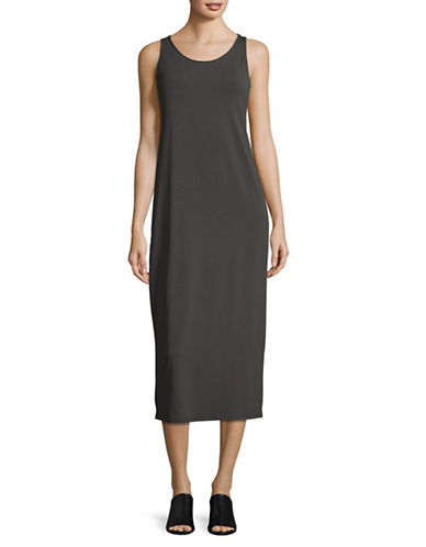 Eileen Fisher Scoop Neck Maxi Dress-BARK-X-Large