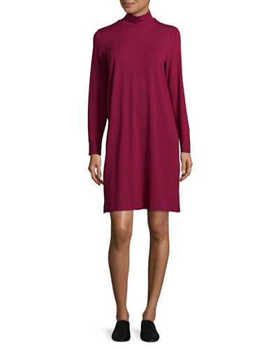 Eileen Fisher Mock Neck Dress-PURPLE-X-Small