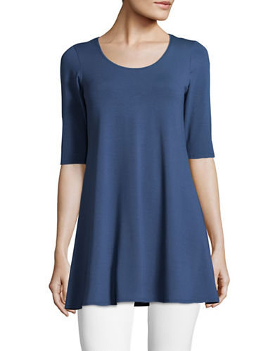 Eileen Fisher Classic Ruffle Tunic-DENIM-Medium