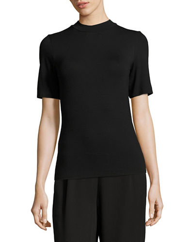 Eileen Fisher Jersey Mock Neck Tee-BLACK-Small