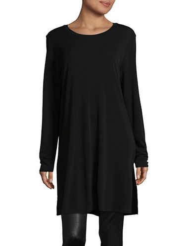 Eileen Fisher Round Neck Tunic-BLACK-Large