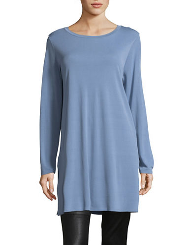 Eileen Fisher Round Neck Tunic-BLUE-X-Small
