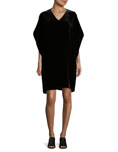 Eileen Fisher V-Neck Velvet Kimono Dress-BLACK-X-Large