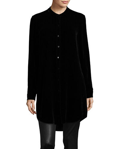 Eileen Fisher Velvet Mandarin Collar Long Shirt-BLACK-Large