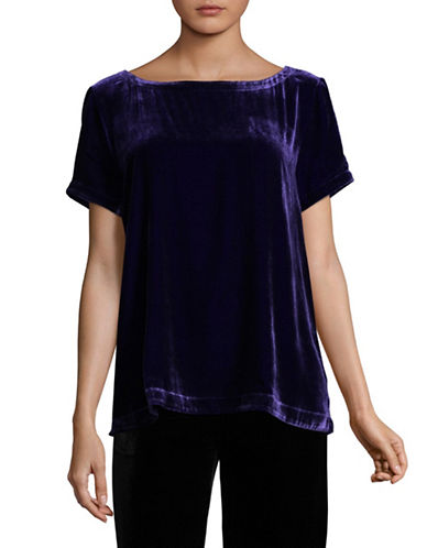 Eileen Fisher Velvet Bateau Neck Short Sleeve Top-PURPLE-X-Large