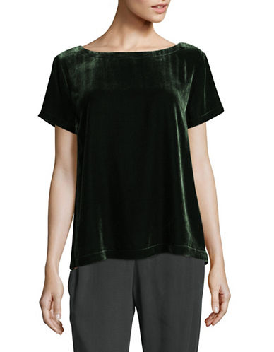 Eileen Fisher Velvet Bateau Neck Short Sleeve Top-DEEP HEMLOCK-Medium