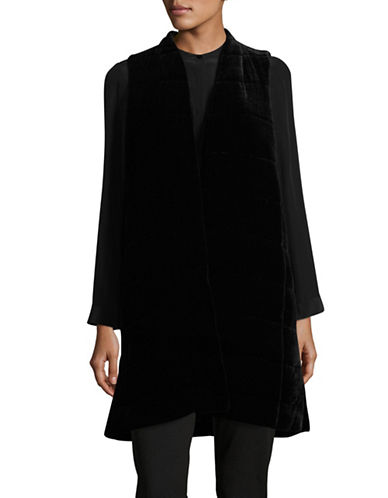 Eileen Fisher Quilted Velvet Long Sleeveless Vest-BLACK-X-Large