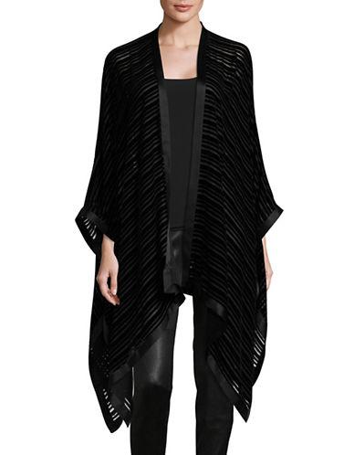 Eileen Fisher Striped Velvet Silk-Blend Poncho-BLACK-One Size