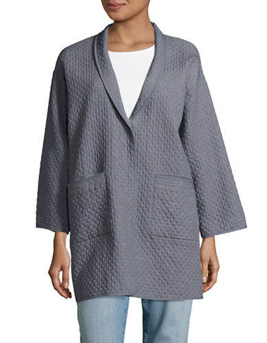 Eileen Fisher Washed Cotton Diamond Jacket-BLUE-Medium