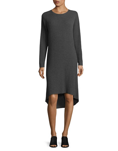Eileen Fisher Round Neck Wool Hi-Lo Sweater Dress-BARK-X-Small