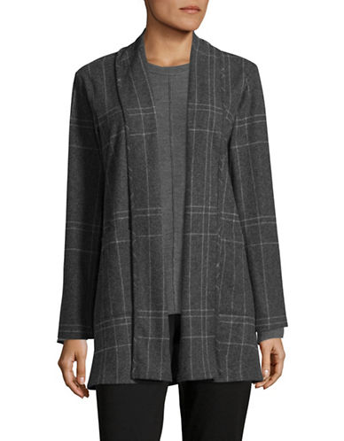 Eileen Fisher Windowpane Check Kimono Jacket-DARK ASH-Large