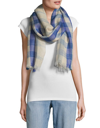 Eileen Fisher Handloomed Wool Fading Ikat Scarf-POND-One Size