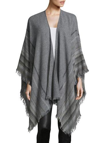 Eileen Fisher Stripe Wool-Blend Poncho-GREY-One Size
