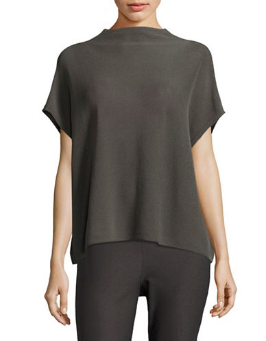 Eileen Fisher Organic Cotton-Blend Knit Top-BARK-Large