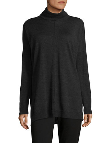 Eileen Fisher Turtleneck Box Wool Top-CHARCOAL-Small