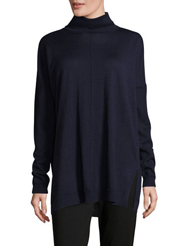 Eileen Fisher Turtleneck Box Wool Top-BLACK-Small
