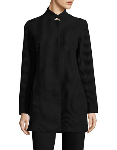 Eileen Fisher Quilt Stand Collar Jacket-BLACK-X-Small