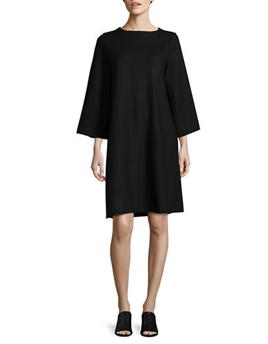 Eileen Fisher Bateau Neck Wool Trapeze Dress-BLACK-X-Large
