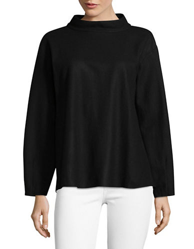 Eileen Fisher Stand Collar Wool Top-BLACK-Small
