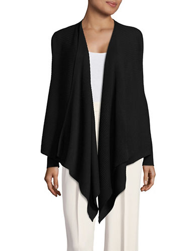 Eileen Fisher Ribbed Wool Cardigan-BLACK-X-Large