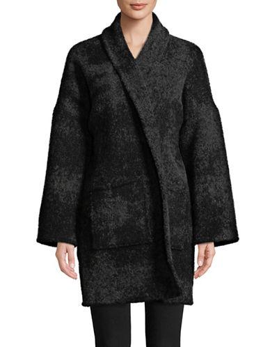 Eileen Fisher Alpaca-Wool Wrap Coat-CHARCOAL-Small/Medium