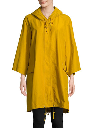 Eileen Fisher Three-Quarter Sleeve Anorak Light Organic Cotton Nylon-YELLOW-X-Large
