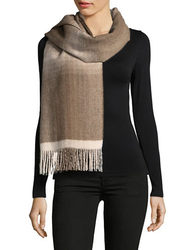 Eileen Fisher Alpaca Wool Gradient Plaid Scarf-PEARL-One Size