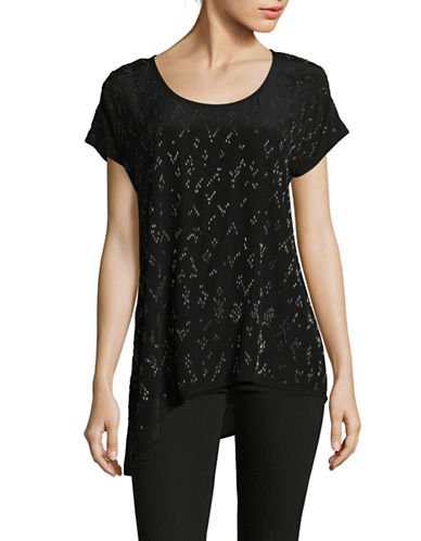 Eileen Fisher Hand-Beaded Chevron Silk Top-BLACK-X-Large