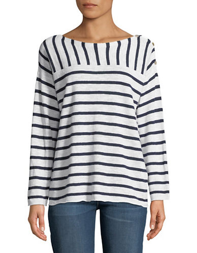 Eileen Fisher Striped Boat Neck Slub Top-WHITE-Large