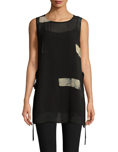 Eileen Fisher Sheer Silk Overlay Top-BLACK-Small