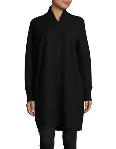 Eileen Fisher Boiled Wool Longline Bomber Coat-BLACK-Large