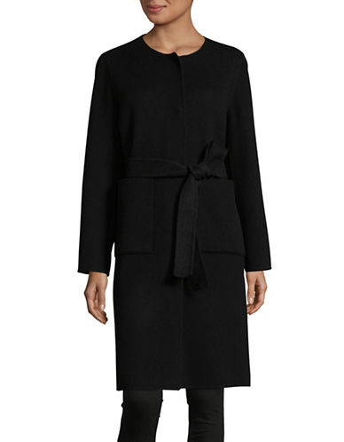 Eileen Fisher Brushed Wool Double-Faced Coat-BLACK-Large