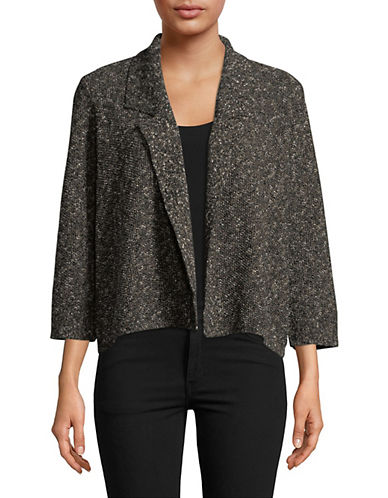 Eileen Fisher Linen Slub Notch Collar Jacket-BLACK-Large