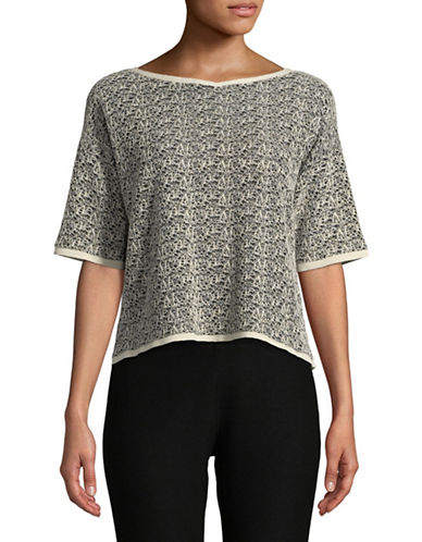 Eileen Fisher Organic Linen Mixed Yarn Top-BLACK-X-Small