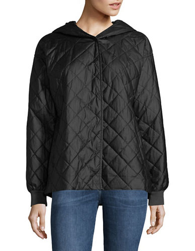 Eileen Fisher Quilted Hooded Cotton Jacket-BLACK-X-Small 89778073_BLACK_X-Small