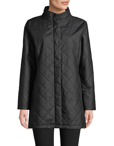 Eileen Fisher Quilted Organic Cotton Long Jacket-BLACK-Large