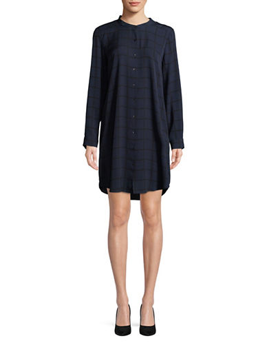 Eileen Fisher Drawn Plaid Silk Crepe Shirtdress-MIDNIGHT-Medium
