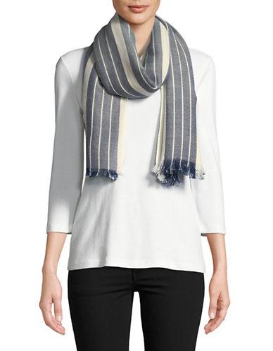 Eileen Fisher Diamond Stripe Scarf-BLUE-One Size