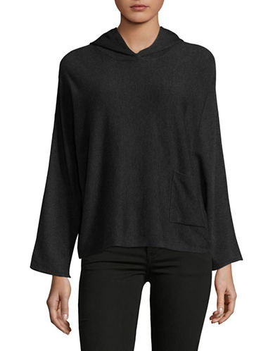 Eileen Fisher Cozy Cropped Hooded Top-CHARCOAL-Medium