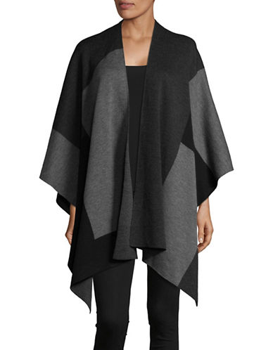 Eileen Fisher Merino Wool Jaquard Serape-CHARCOAL-One Size