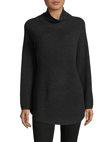 Eileen Fisher Ribbed Merino Wool Top-CHARCOAL-Medium