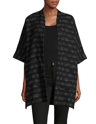 Eileen Fisher Marled Kimono Jacket-BLACK-X-Small