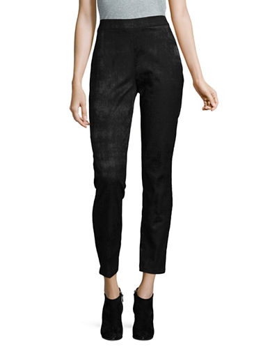 Eileen Fisher Cotton Textured Slim Trousers-BLACK-14