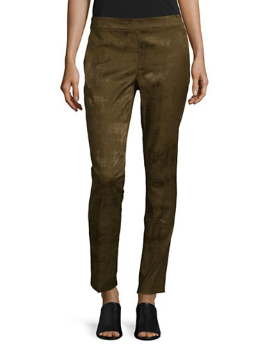 Eileen Fisher Cotton Textured Slim Trousers-SERPENTINE-6