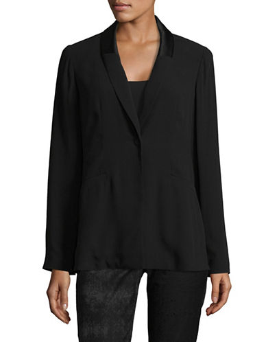 Eileen Fisher Georgette Silk Crepe Blazer-BLACK-X-Large