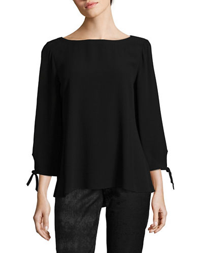 Eileen Fisher Georgette Silk Crepe Blouse-BLACK-Small