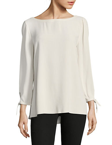Eileen Fisher Georgette Silk Crepe Blouse-BONE-X-Small